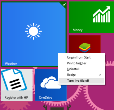 How to Change Start Menu Icons [ Customize ] in Windows 8 turn live tile off